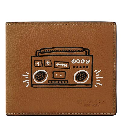 COACH Keith Haring焦糖色皮革收音機圖樣雙摺十卡短夾-附可拆名片短夾COACH