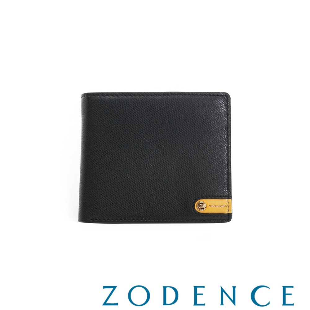 ZODENCE MAN義大利牛皮系列低調配色LOGO三折短夾 黑