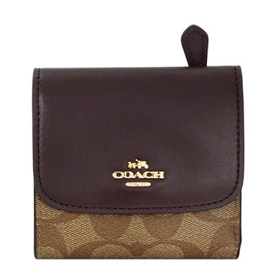 COACH巧克力色真皮拼接卡其C Logo三摺輕便短夾COACH