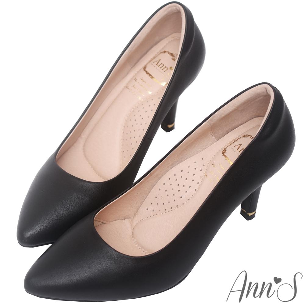 Ann'S危險迷人3D氣墊頂級羊皮尖頭高跟鞋-黑