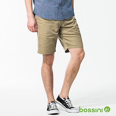 bossini男裝-休閒棉麻短褲01茶色