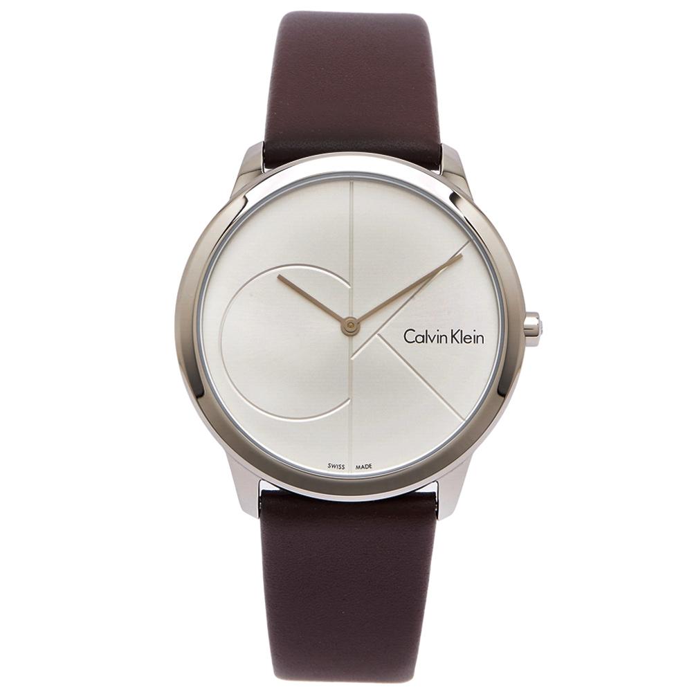 CK Calvin Klein極簡CK LOGO風格手錶-銀面x咖啡色40mm