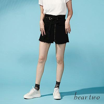 beartwo 街頭破損不收邊鬚鬚彈性短裙(黑色)