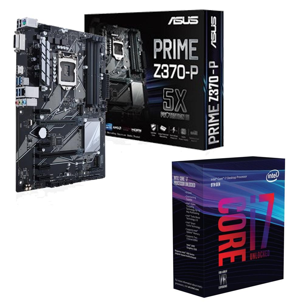 超值組合Intel i7-8700K CPU華碩PRIME Z370-P主機版