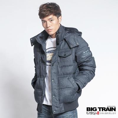 BIG TRAIN 人字紋仿毛呢絲棉外套-男-深藍