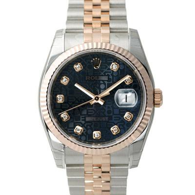 ROLEX 勞力士 DateJust  116231  蠔式恆動玫瑰金日誌型錶-黑紀念鑽面/ 36 mm