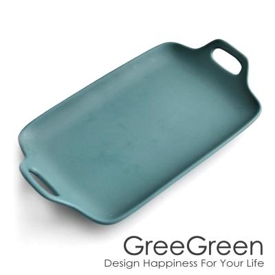 GREEGREEN 雙耳長型陶瓷餐盤 13吋 藏綠 餐盤 點心盤 烤盤 (8H)