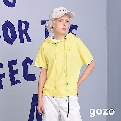 gozo 抽繩微笑帽T (二色)
