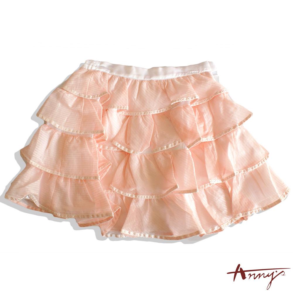 可愛點點壓邊荷葉波浪蛋糕短裙*9112粉