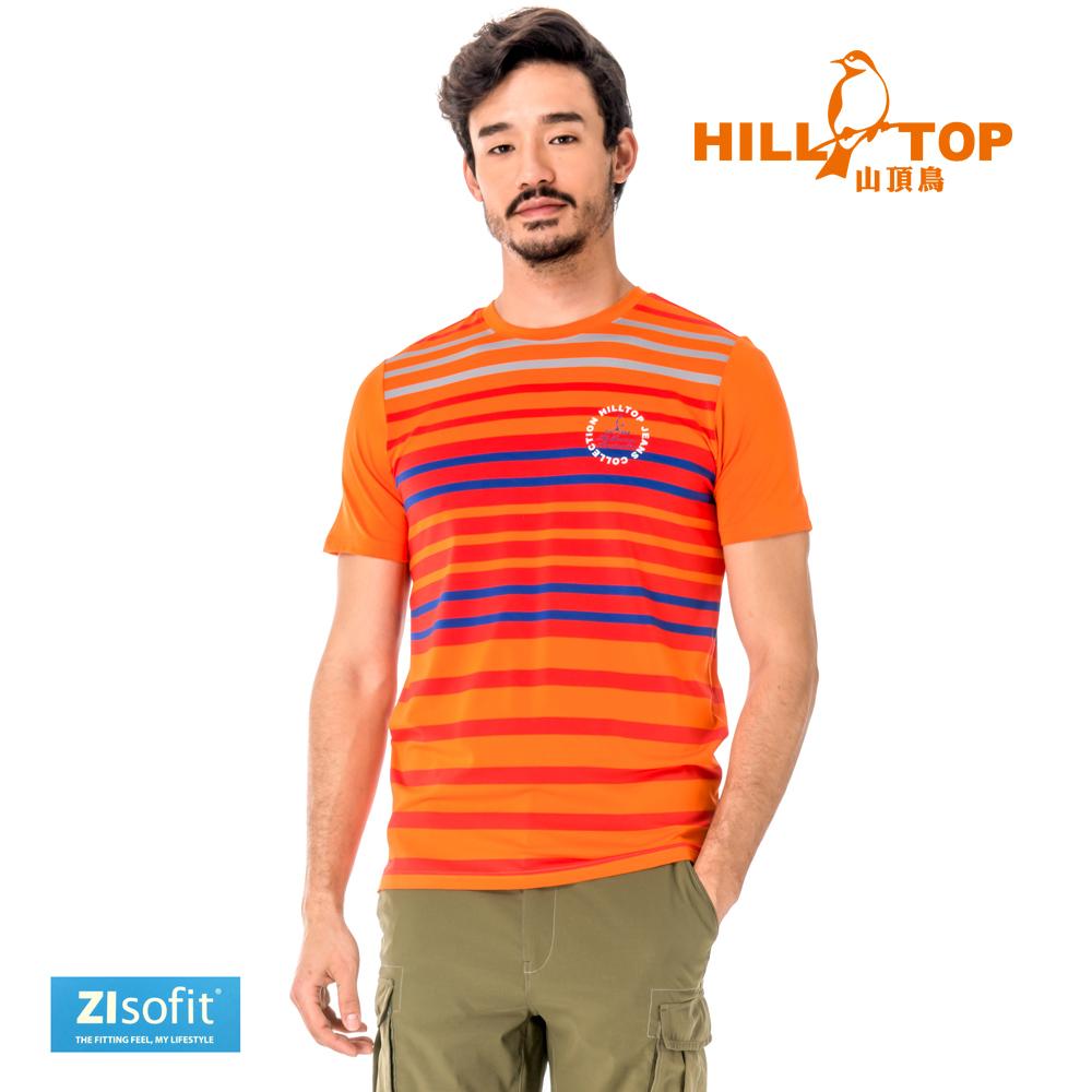 【hilltop山頂鳥】男款吸濕排汗抗UV彈性T恤S04MC1-橘