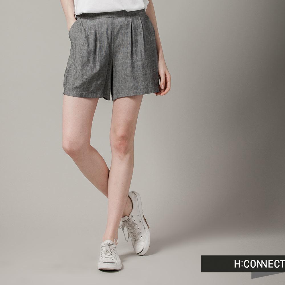 H:CONNECT 韓國品牌 女裝-雙色混紗細摺短褲-灰(快)