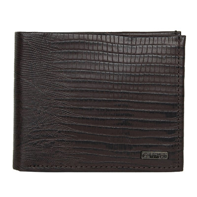 Calvin Klein 深咖色蜥蜴紋皮革雙摺短夾