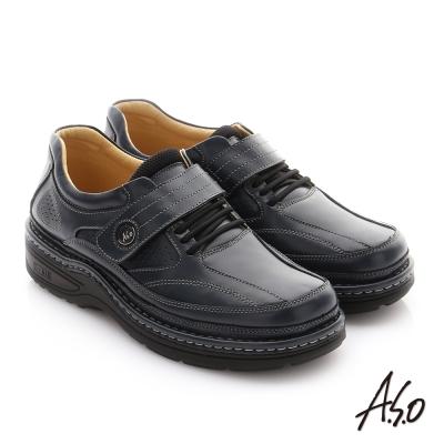 A.S.O 抗震雙核心 牛皮魔鬼氈奈米紳士鞋 深藍色