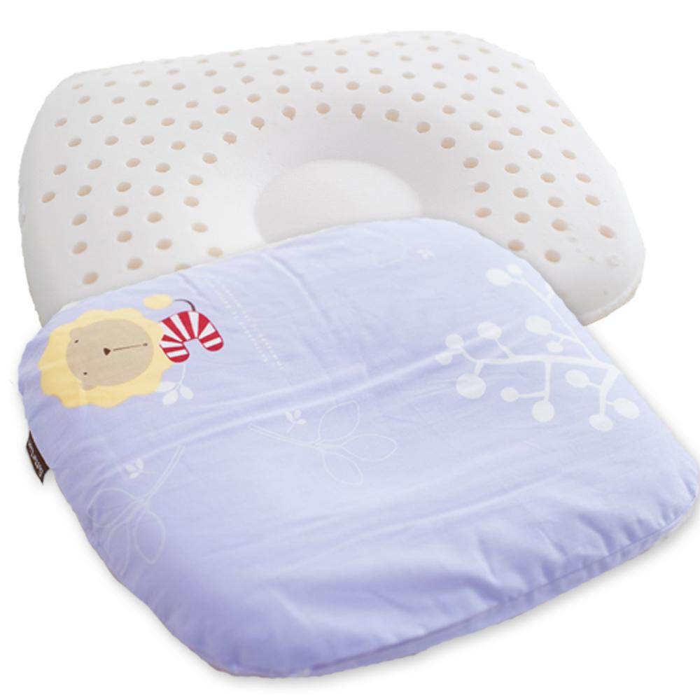 奶油獅-馬來西亞天然乳膠新生嬰兒模塑造形圓枕-幻紫