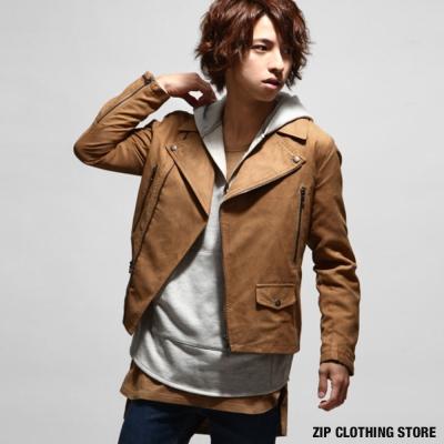 大翻領皮衣夾克騎士外套 ZIP日本男裝