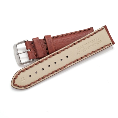 PARNIS BOX 質感栗子色 20mm 小牛皮錶帶 316L不鏽鋼單向釦 粗車線