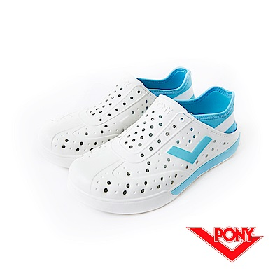 【PONY】ENJOY 系列-輕量透氣洞洞鞋-中性-白/藍(阿根廷)