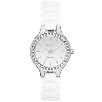 DKNY 白色海洋風潮晶鑽時尚腕錶-銀白/28mm