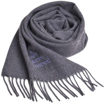 Vivienne Westwood 長版刺繡行星LOGO羊毛圍巾(灰)
