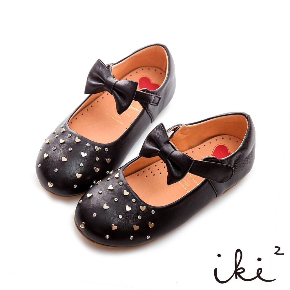 iki2童鞋-質感真皮愛心鉚釘娃娃鞋-個性黑