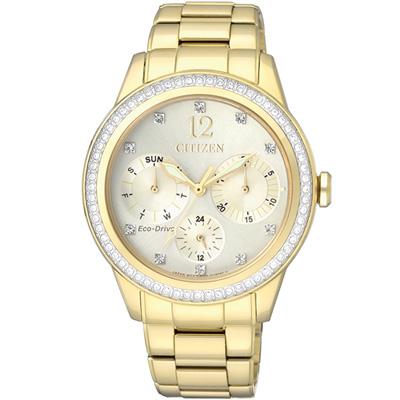 CITIZEN 星辰 L 光動能晶彩夢境時尚腕錶(FD2012-52P)-金色/37mm