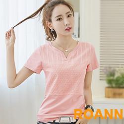 甜美小V領花紋短袖T恤 (共三色)-ROANN