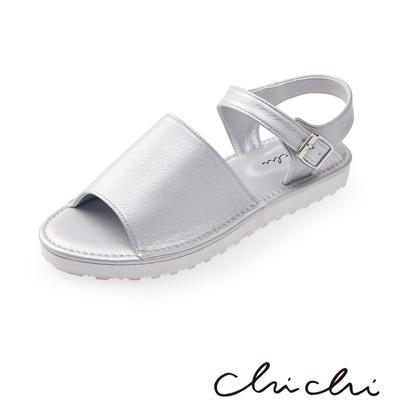 Chichi 寬帶側扣環厚底涼鞋*銀色