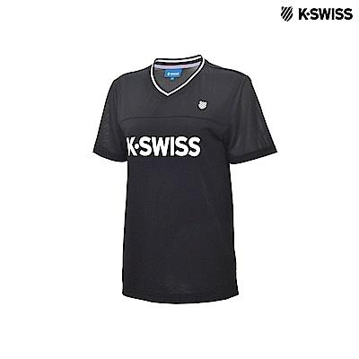 K-Swiss Mesh V-neck TopsV領短袖T恤-女-黑