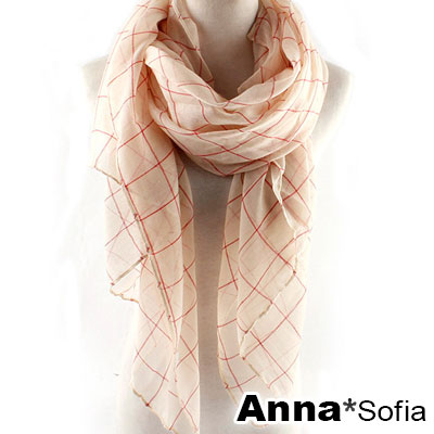 AnnaSofia 方格續線 巴黎紗披肩圍巾(米底系)