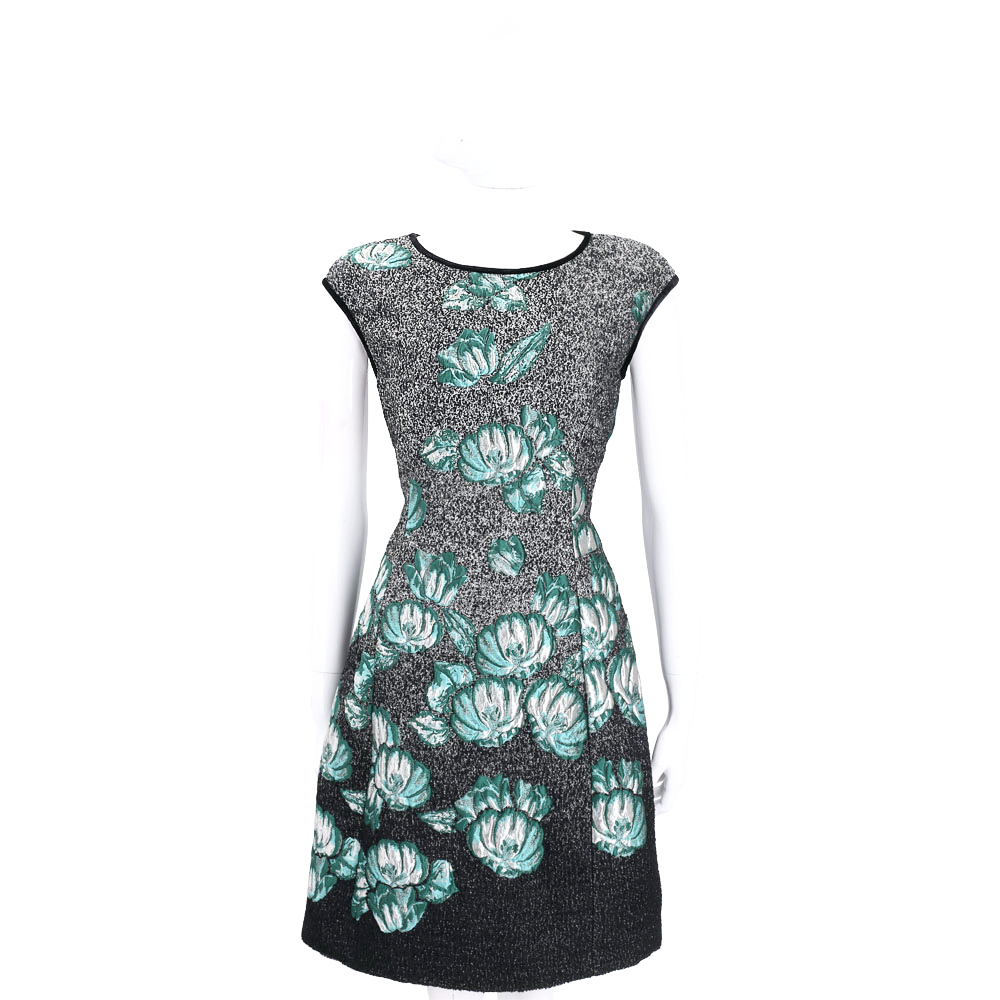 ALBERTA FERRETTI 花朵圖案短袖洋裝(黑x綠)