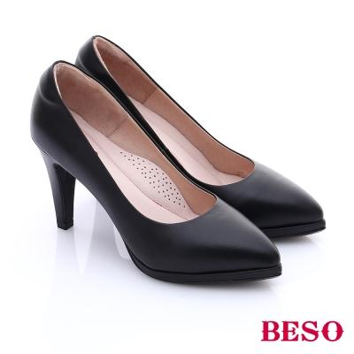 BESO-都會摩登女郎-真皮素面金屬跟尖楦高跟鞋-黑