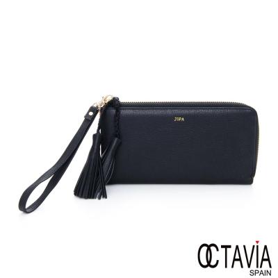 OCTAVIA-8-真皮-JOPA-流蘇羊皮手拿式長夾-黑