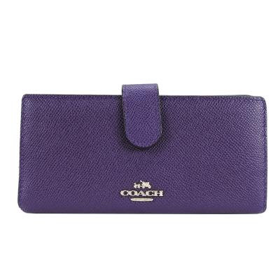 COACH-馬車防刮皮革卡片中夾-紫