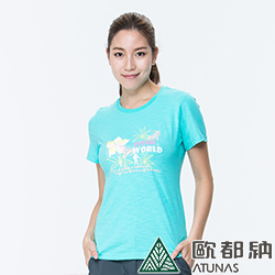 【ATUNAS 歐都納】竹節棉吸濕透氣排汗女款圓領短袖T恤A1-T1707W冰藍