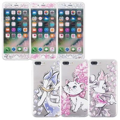 Disney迪士尼iPhone7 Plus手繪玻璃保護貼+彩繪雙料保護殼_公主系...