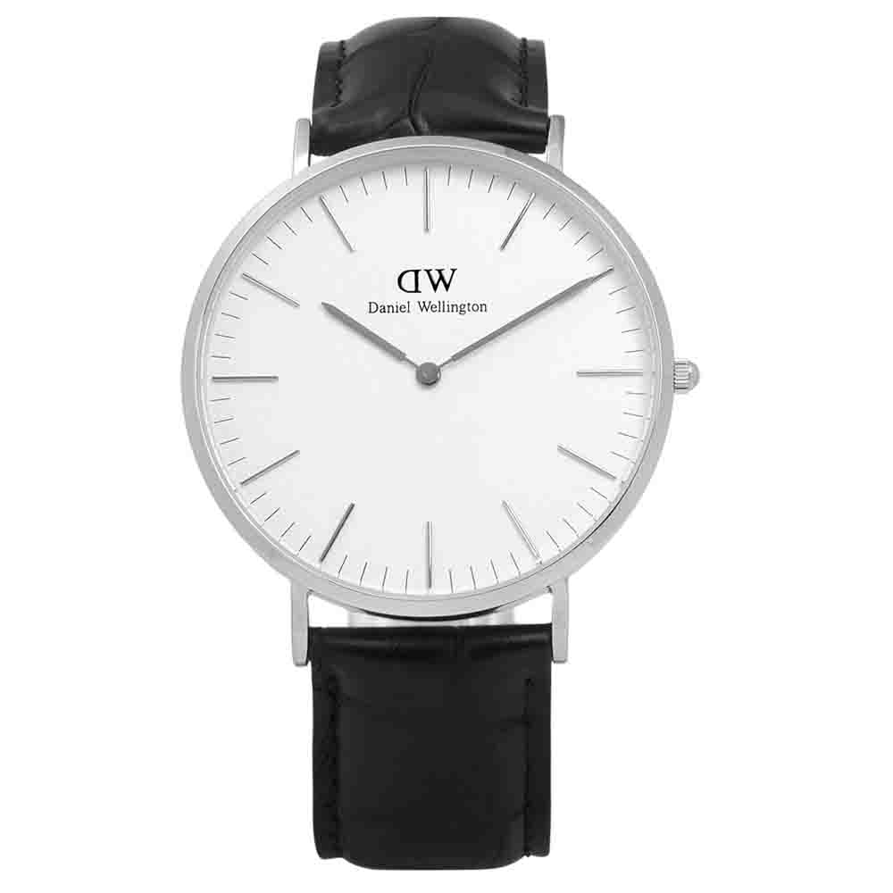 DW Daniel Wellington Classic 鱷魚紋真皮手錶-白x黑/40mm
