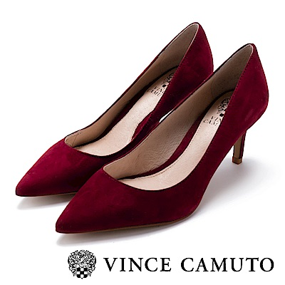 Vince Camuto 都會風尚 原色尖頭曲線高跟鞋-絨酒紅
