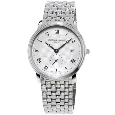 康斯登 CONSTANT SLIMLINE超薄系列紳士腕錶-銀/38.4