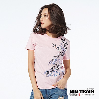 BIG TRAIN 萩草飛燕圓領短袖-女-粉紅