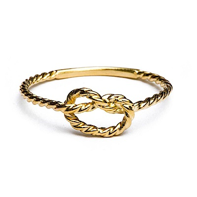 Kiel James Patrick 美國手工船錨 魅力無限繩結金色戒指