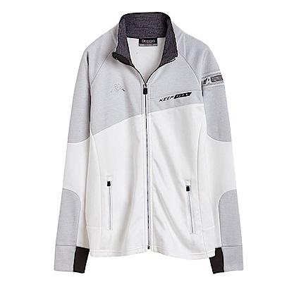 KAPPA義大利 女吸濕排汗速乾KOOL DRY針織外套(合身版)白 淺麻灰