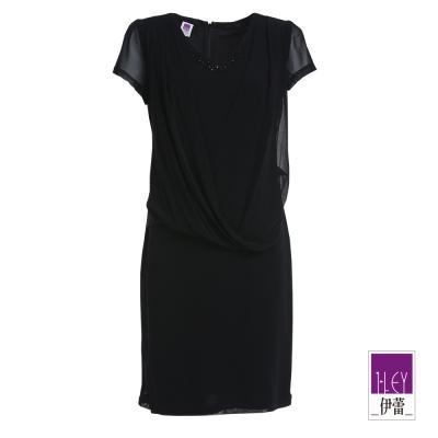 ILEY伊蕾-垂領飄逸素色洋裝