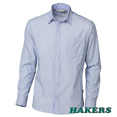 【HAKERS】男-都會條紋純棉襯衫-藍色