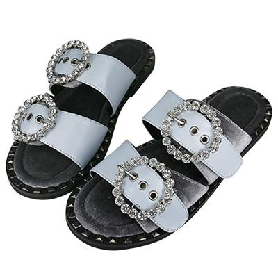 Robinlo Studio奢華絲絨水鑽飾釦雙帶拖鞋 藍色