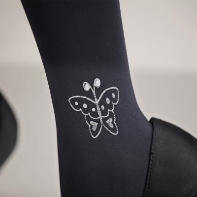 蒂巴蕾120D超細纖維天鵝絨全彈性褲襪-花樣蝴蝶