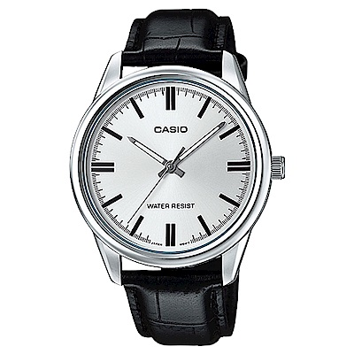 CASIO經典復古簡約指針腕錶-(MTP-V005L-7A)-銀框X銀面