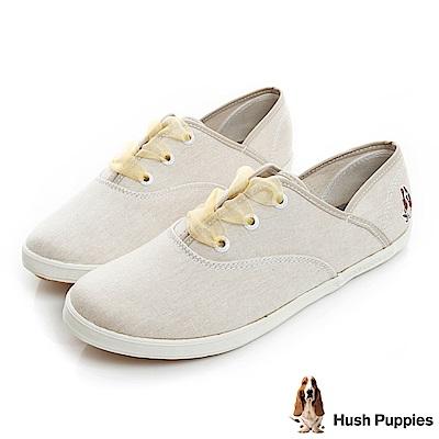 Hush Puppies 緞帶蝴蝶結咖啡紗帆布鞋-淺褐色