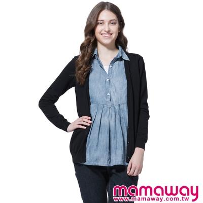 孕婦裝-哺乳衣-襯衫領針織外套孕哺假兩件上衣-共二色-Mamaway