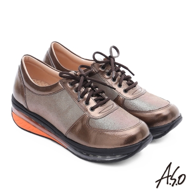A.S.O 活力微笑 金箔牛皮奈米氣墊休閒鞋 古銅