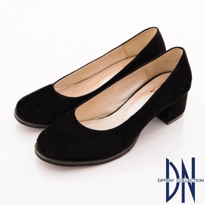DN-巴黎漫步-高貴細絨布低跟包鞋-黑絨